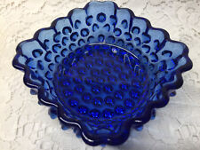 Blue Vaseline glass Hobnail pattern nappy bowl / candy uranium cobalt berry dish
