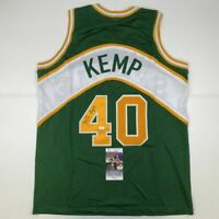 Autographed/Signed SHAWN KEMP Seattle Green Basketball Jersey JSA COA Auto