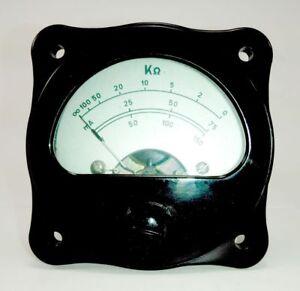 Vintage analog panel microamper meter 300uA,300B tube plate currentmeter Bakelit