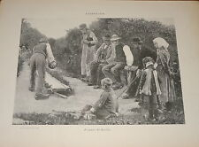 RARE Gravure JEU BOULES SPORT BOWLING QUILLES HENNINGSEN DANEMARK DENMARK 1880