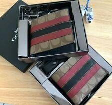 NWT COACH Mens Boxed ID Billfold Wallet Card Case Key Fob Gift Set Canvas F86110