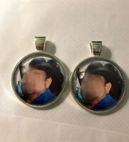 """Custom handmade personalized picture on 1"""" glass dome silver plated charms."""