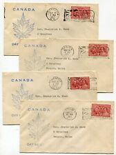 Canada Fdc 1937 George Vi Coronation - Four Different Flag Cancel Cachet Covers