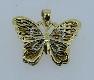 """OR 14k Yellow & White Gold 5/8"""" Detailed Butterfly Pendant - 2.46 Grams"""