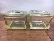2 Vtg Glasbake Glass Refrigerator Dish Containers w Lids Yellow Tint Mckee