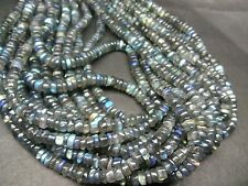 "Natural labradorite  heshi plain tyre 4-6 mm, 13"" long beads strands"
