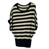 MOTH Anthropologie Batwing Dolman Sweater Striped Black Ivory Size S