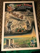 Merry Christmas From Spaceport Florida Card By Nasa Space Artist Don Mackey