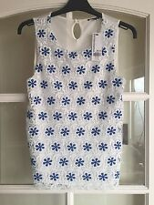 New With Tags Warehouse White Lace Shell Top With Blue Daisy Size 10