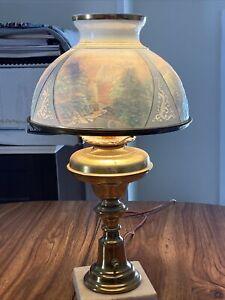 antique porcelain lithophane dome shaped student lamp scenic