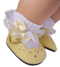 Yellow Shoes + Satin Pearl Bow Socks for Bitty Baby Doll Clothes High Quality