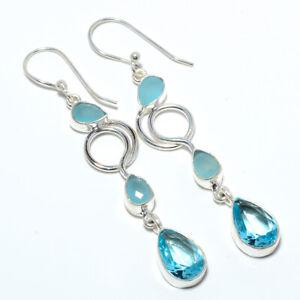"""Blue Topaz & Chalcedony 925 Sterling Silver Earring Jewelry 2.54"""" T3076"""