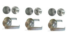 3 Sets of Entry Door Lock set, Satin Chrome Commercial Lever,All Keyed alike