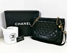 """CHANEL 12.75"""" Inch Black Quilted Lambskin Leather Tote Style Shoulder Bag w Box"""