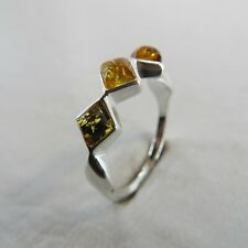 Size 8 (EU Size 57) Multi-Color BALTIC AMBER Ring 925 STERLING SILVER #2956