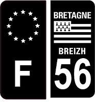 4 Autocollants 2 paires Stickers style Auto Plaque Black Edition noir F+ 56