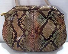Vintage VARON Genuine Python Snakeskin Leather Beige Green Shoulder Bag