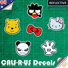 REFLECTIVE Car Decal Sticker Badtz Hello Kitty Red Bow Winnie Pooh Mickey Mouse
