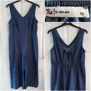 TU Woman Blue Chambray Dungarees Size 16 Wide Leg Midi Sleeveless Elastic Waist