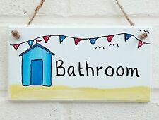 Bathroom beach hut beach seaside holidays sign plaque handmade handpainted