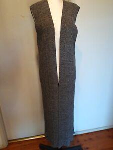 WITCHERY Grey Marle Cotton Mix Maxi Vest Size L