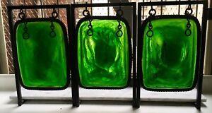 Tiffany Studios Three Large Mottled Green Turtleback Moorish Pendants