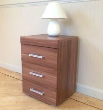 3 Drawer Walnut Effect Bedside Cabinet / Table (3 Draw Chest) Bedroom Furniture