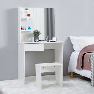 Modern White Dressing Table Jewelry Makeup Desk Mirror, Stool Drawer & Shelves