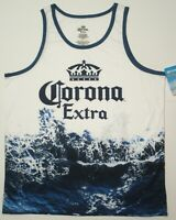 Corona Extra Shirt ~ Large 42 / 44 Beer Logo Blue Wave on White with Crown