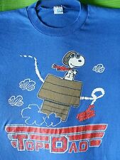 M TOP DAD Vintage TOP GUN 1986 SNOOPY THE RED BARON T-Shirt USA MADE Fathers Day