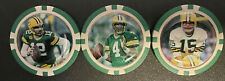 (3) GREEN BAY PACKERS POKER CHIPS/BALL MARKERS - RODGERS, FAVRE & STARR