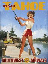 TAHOE Travel Art Photo Print Pinup Poster FISHING Southwest Airways Pin Up Girl