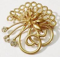 broche ancienne fleur bijou vintage couleur or rose cristal diamant 94