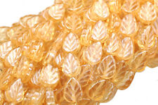 25 CHAMPAGNE LUSTER GLASS LEAF BEADS 10MM