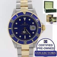 2008 Rolex Submariner 16613 Two Tone 18k Blue V Serial No Hole Engraved Watch E8