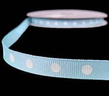 """5 Yds Light Blue White Royal Blue White Dotted Polka Dot Grosgrain Ribbon 3/8""""W"""