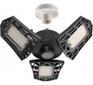 2-Pack Garage Lights 60W LED Lighting, 6000LM 6500K LED Three-Leaf Ceiling Light
