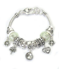 BIRTHSTONE APRIL Euro-Style Lampwork Beads White/Clear Rhinestone Charm Bracelet
