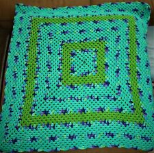 EXPERTLY CROCHETED AFGAN GREEN SHADES AND VIOLET TRIM BEAUTIFUL