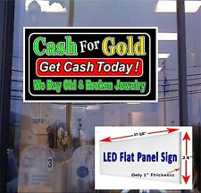 "LED Sign Cash for Gold Get cash today 48x2"" window sign neon banners alternativ"