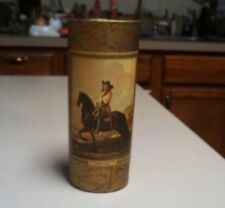 VINTAGE JIM BEAM WHISKEY CUP / GLASS WITH PIC OF MAN ON A HORSE BY DE KEYSER