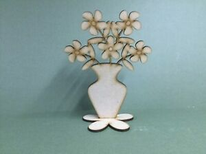 Laser cut MDF wooden - Vase with Flowers