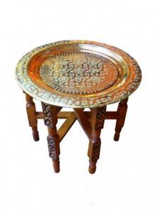 """Orientalischer Teetisch """"Tefor"""" Holz Ø 50 cm Gold"""