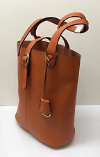 Women Leather Handbag Shoulder Ladies Tote Bag - Orange Brown