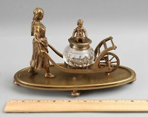 Antique 19thC Bronze Inkwell Country Mother, Child &  Wheelbarrow Sculpture NR