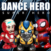 Dancing Bumblebee Spiderman Iron Man Toy Hand Model Dance Hero Robot Music Light