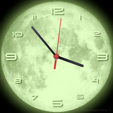FULL MOON WALL CLOCK - Glow-in-the-Dark - boys girls childrens bedroom deco gift