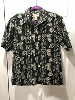 "Cooke Street Honolulu SZ M Hawaiian SS Shirt Cotton reverse print black 46x29"""