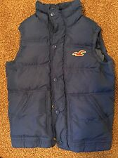 HOLLISTER Men's Size S Small Goose Down Full Zip Blue Puffer Vest Zip Jacket