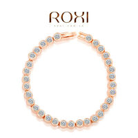 Elegant 18K Rose Gold Plated Women's Genuine Austrian Crystal Bracelet /Bangle
